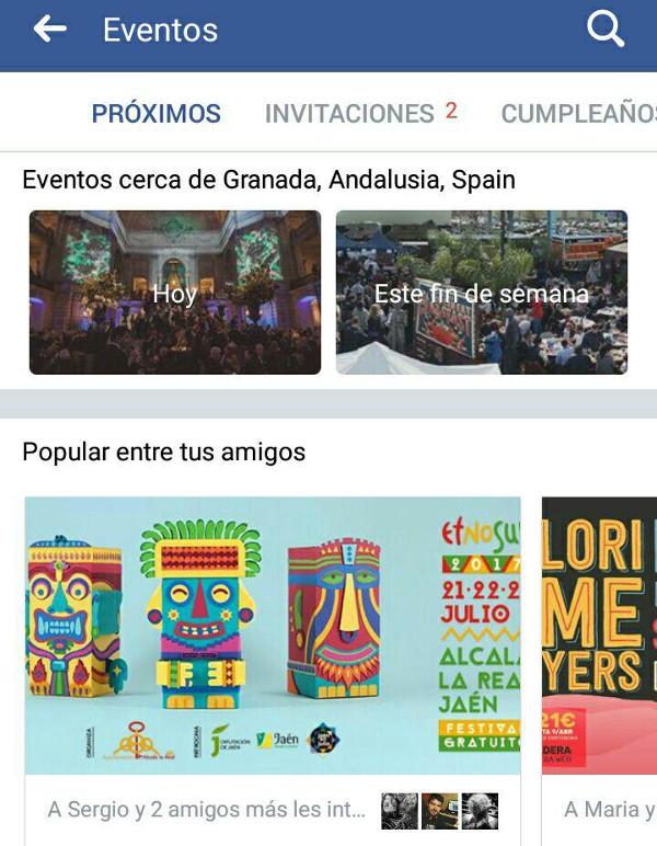 Trucos Facebook - Buscar eventos cerca