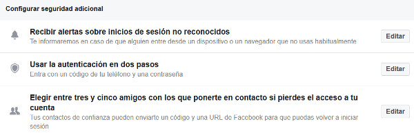 Trucos Facebook - Seguridad adicional