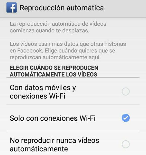 Trucos Facebook reproduccion automatica videos