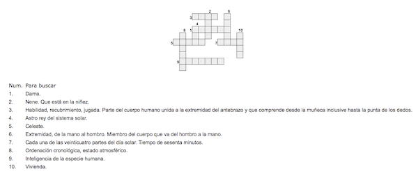 crucigrama sencillo