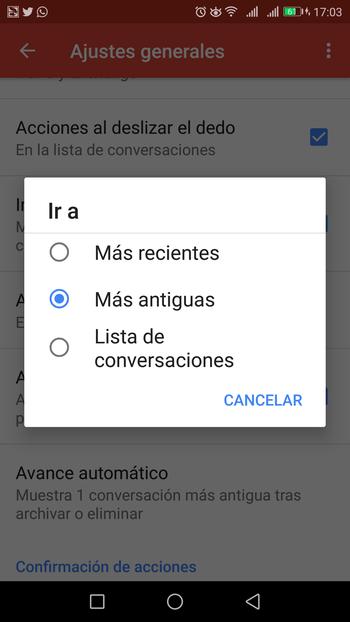 gmail app acciones dedo