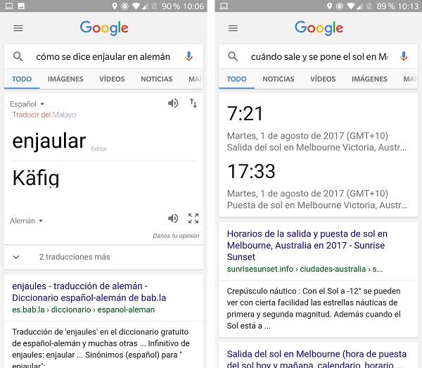 traducir y consultar en google now