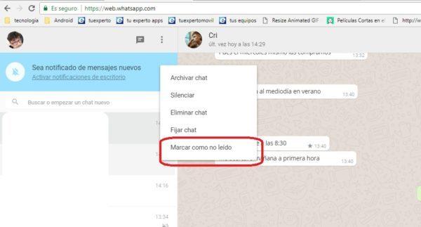 marcar cual no leido whatsapp web