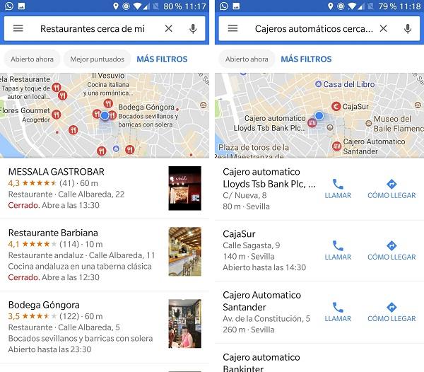 restaurantes y cajeros google now