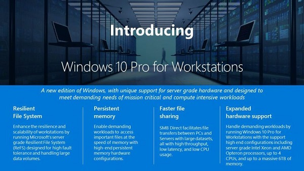 Microsoft presenta Windows diez Pro Workstations