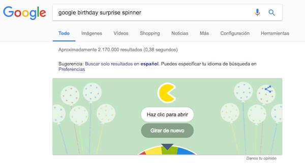 google birthday surprise spinner pacman