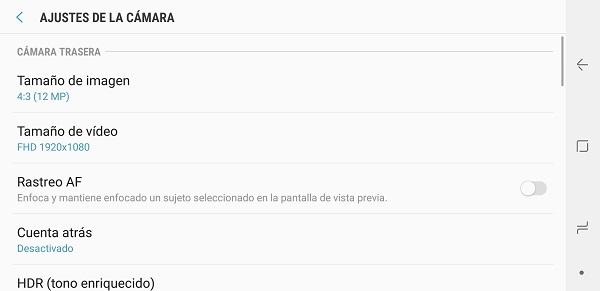 Ajustes de la camara del Samsung Galaxy Note 8
