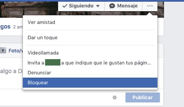 bloquear usuario facebook
