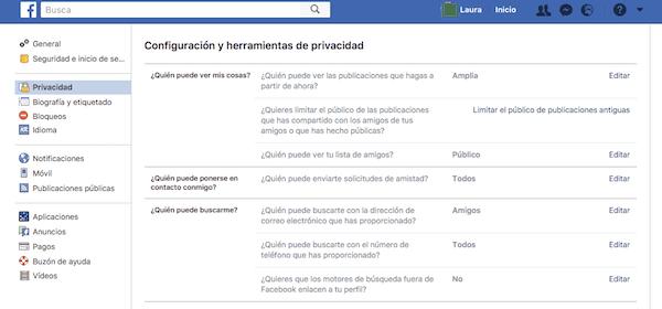 facebook privacidad ocultar perfil