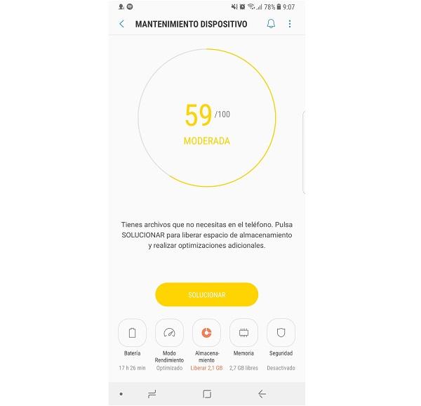 Mantenimiento del dispositivo en Note 8