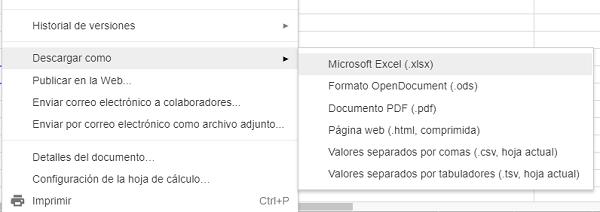 archivo exportar excel