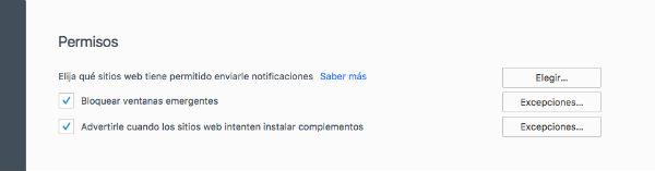 Firefox ventanas emergentes