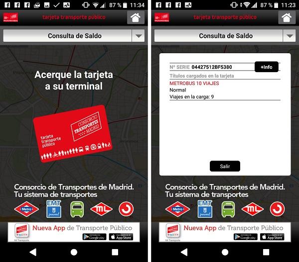 consulta saldo tarjeta de transporte multi