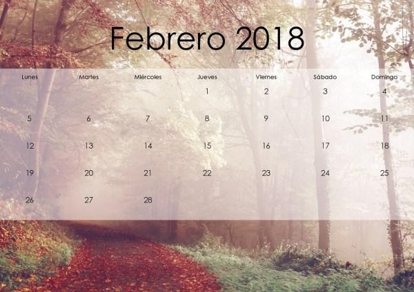 Calendario 2018 febrero