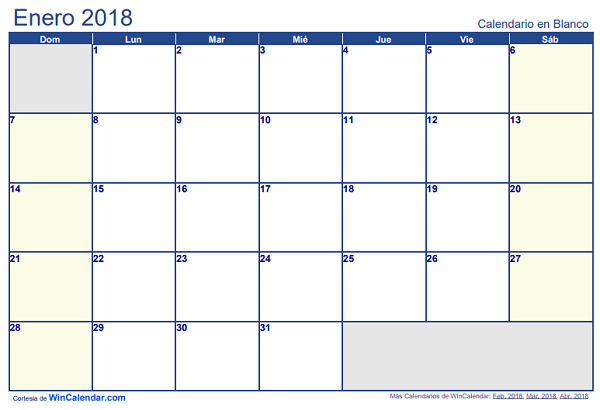 Calendario 2018 en Word, Excel y PDF