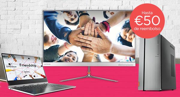 Lenovo te devuelve hasta 50 euros(EUR) por la compra de un PC y un monitor