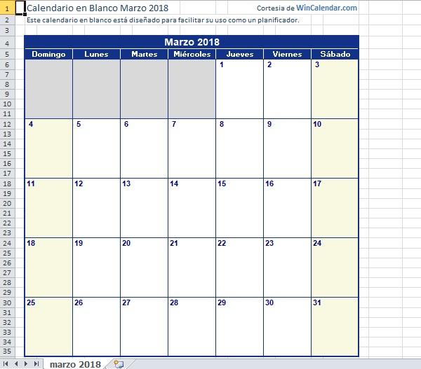 calendarios es Microsoft Excel