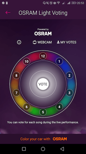 eurovision aplicación OSRAM Light Voting