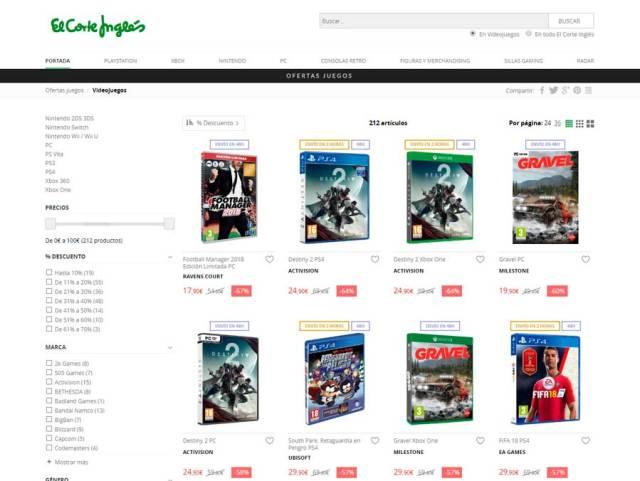 5 tiendas online para adquirir games a buen precio(valor) El Corte Inglés