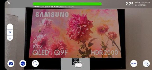 probamos app Samsung℗ para calcular tamaño ideal del televisor colocar tv