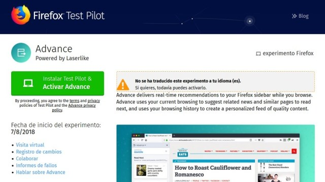 advance test piloto