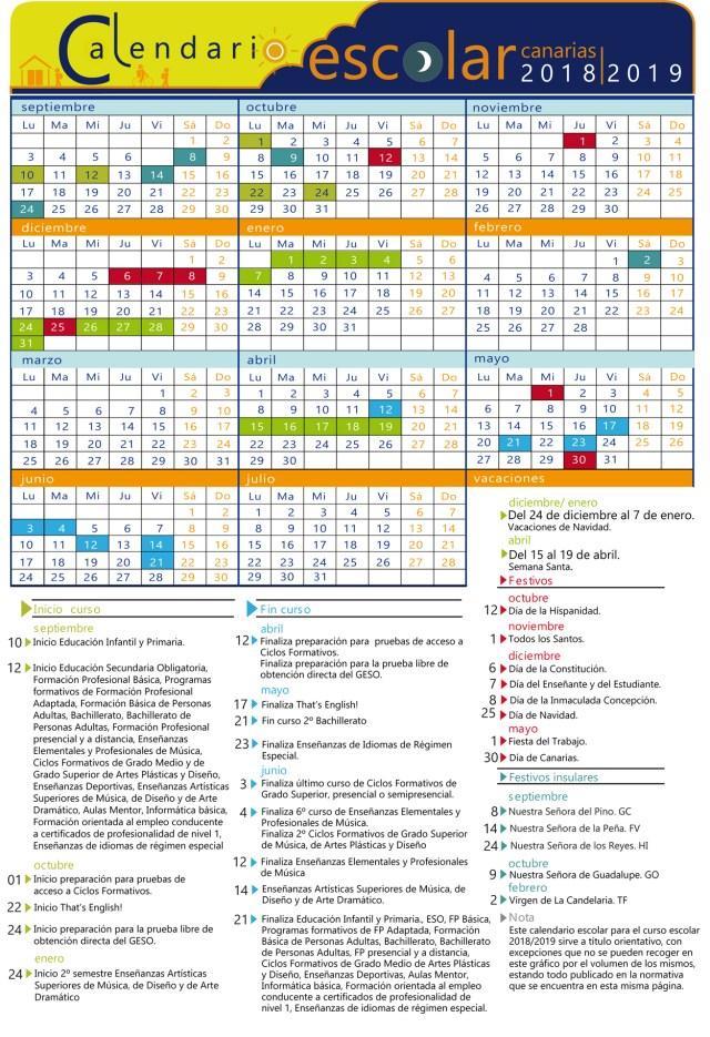 calendario escolar islas canarias