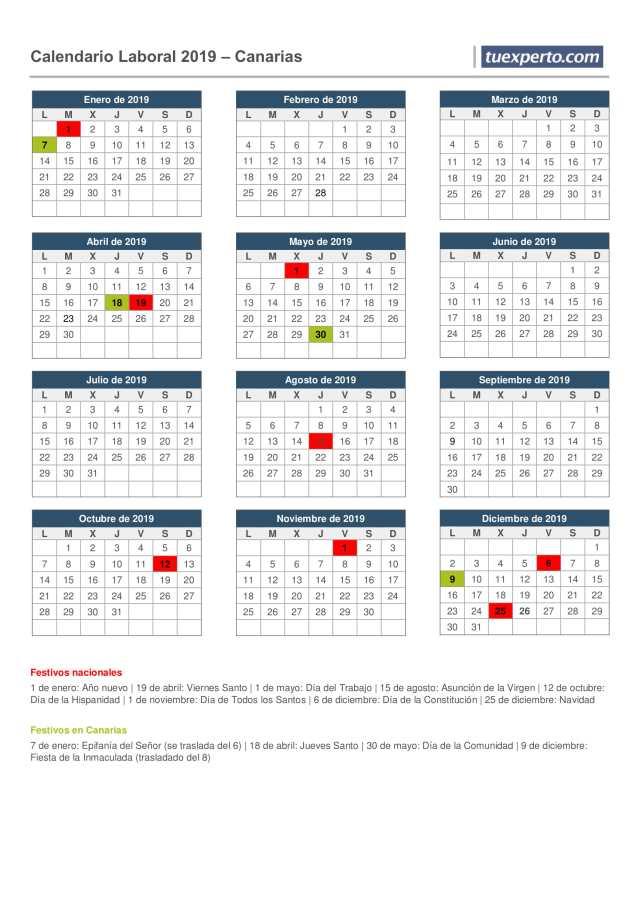 calendario laboral canarias