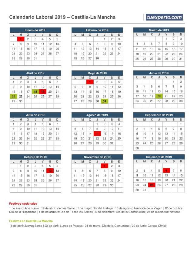 castilla la-mancha calendario laboral