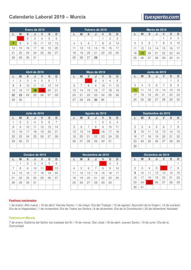 calendario laboral murcia 2019