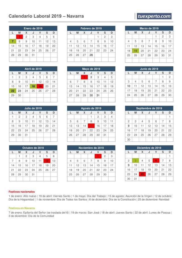 calendario laboral 2019 navarra