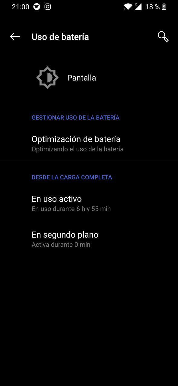 consumo bateria oneplus 6t