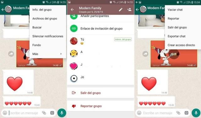 whatsapp salir grupo