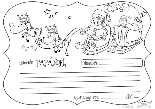 Cartas a los Reyes y a Papá Noel para colorear