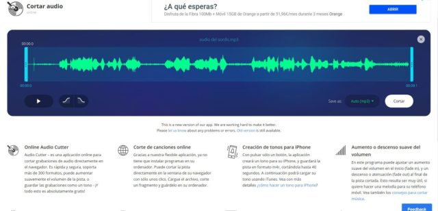 cortador de audio mp3 online gratis