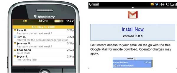 how to use gmail on a blackberry