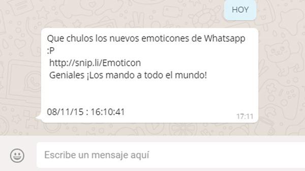 Mensaje de estafa de emoticones en WhatsApp