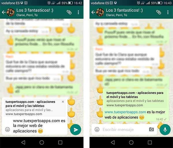 WhatsApp previsualizaciones web