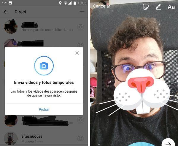 mensajes que se autodestruyen en instagram