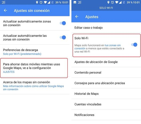 ahorrar datos google maps