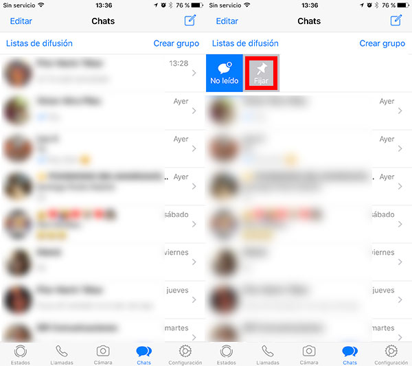 como fijar chats de WhatsApp en iPhone fijar