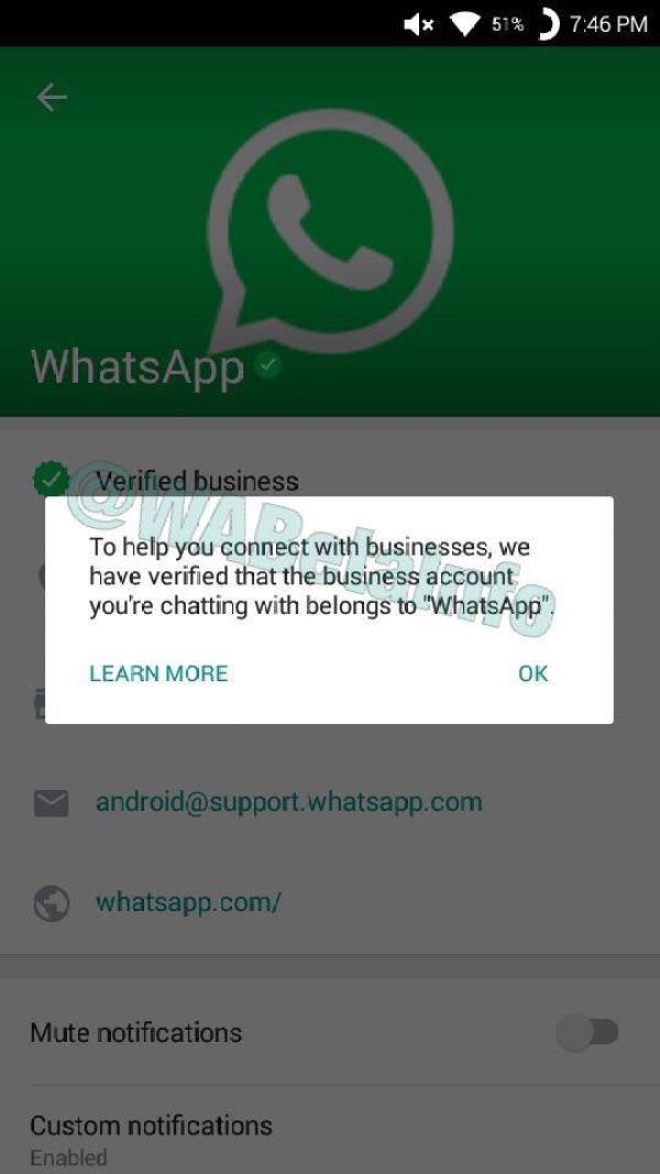 whatsapp cuenta verificada