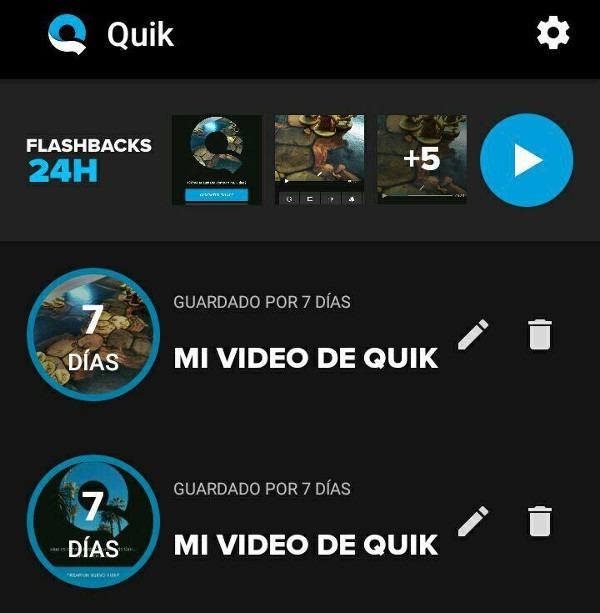 Quik editar video en ©Android Flashback