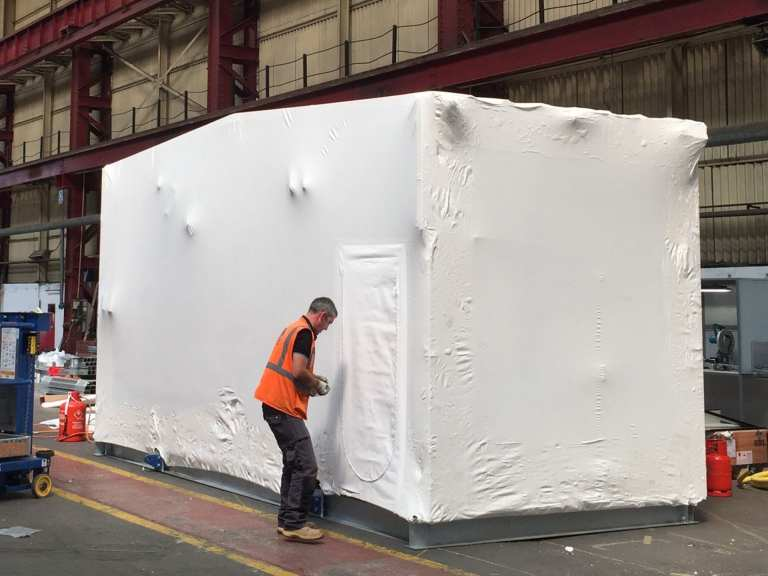 Modular Building Covers using Shrink-wrapped for transport protection