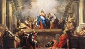 Venida del Espíritu Santo sobre María y Loas Apóstoles