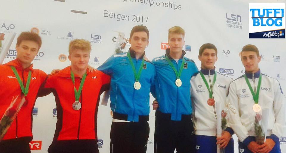 bergen 2017 porco cosoli podio medaglia tuffi europei