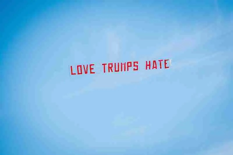 **** FREE FIRST USE. DO NOT ALTER IPTC DATA **** IN PIC................. 'Love trumps hate': A message to Donald Trump carried by a plane crowdfunded by 38 Degrees members. Plane had to carry message well to the north of Turnberry because of no-fly zone. (c) Wullie Marr/38 degrees For pic details, contact Wullie Marr........... 07989359845