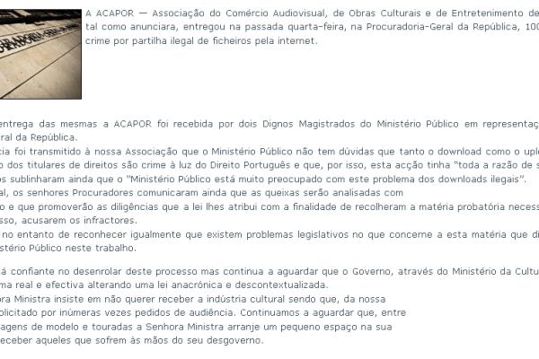 Site da #ACAPOR online... ups lá foi ele novamente... #offline