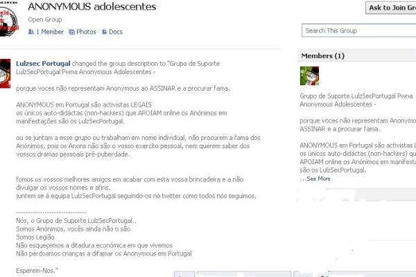 Grupo Anonymous Adolescentes atacados por apoiantes dos LulzSec Portugal