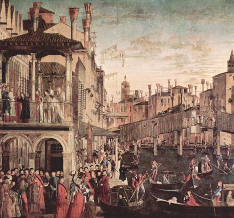 El milagro de la cruz en el puente del Rialto de Vittore Carpaccio