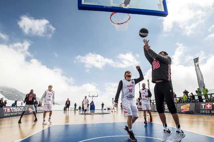 Partido de baloncesto de Tony Parker en la cumbre de Jungfrau. Tu Gran Viaje
